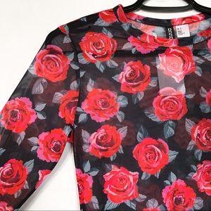 H&M • Sheer Rose Print Long Sleeved Top